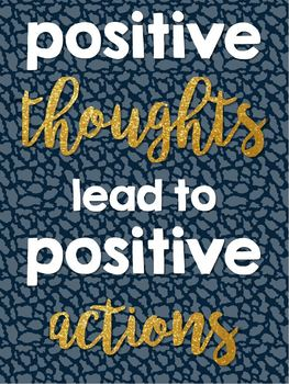 Positivity Quotes Saying Posters- Navy & Gold