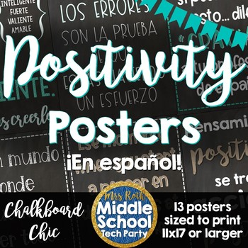Positivity Quotes Saying Posters ¡en español! - Chalkboard Chic