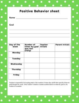 Positve Behavior goal sheet