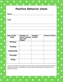 Positve Behavior goal sheet