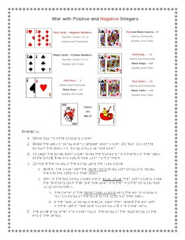Positive and Negative Integers Card Game Activity! *Practice in Pairs using WAR*