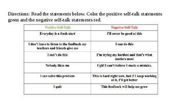 Positve vs. Negative Self-Talk