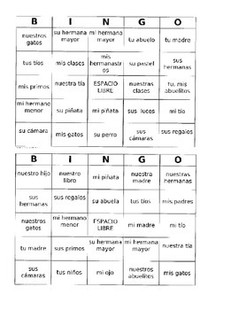Possesive adjectives, family, and party Bingo! / Realidades 1 5a