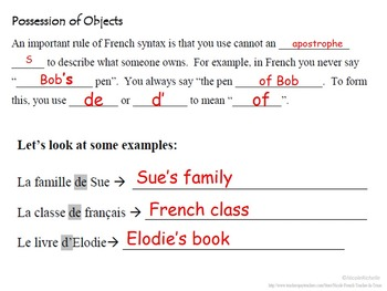 Possession, Ownership of Objects: French Quick Lesson