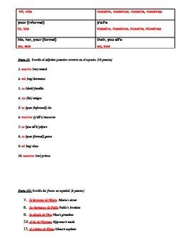Possession and Possessive Adjectives Quiz