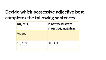 Possessive Adjective Practice using whiteboards or answer sheets