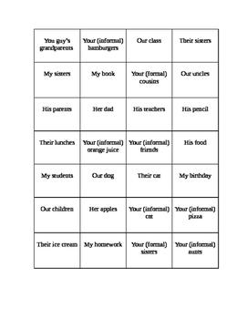 Possessive Adjective Puzzle-Avancemos 1 3.2 Vocabulary
