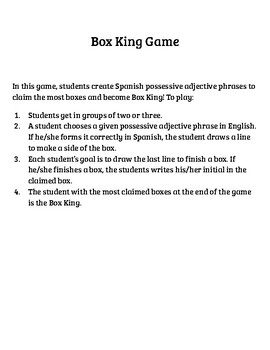 Possessive Adjectives Box King Game