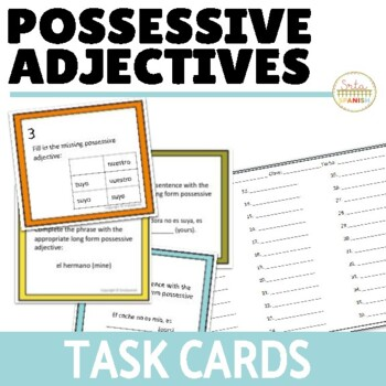 Possessive Adjectives Long Form Task Cards