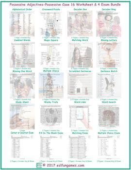 Possessive Adjectives-Possessive Case 16 Worksheet- 4 Exam Bundle