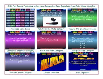 Possessive Adjectives-Possessive Case Jeopardy PowerPoint Game Slideshow