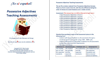 Possessive Adjectives Teaching Assessments