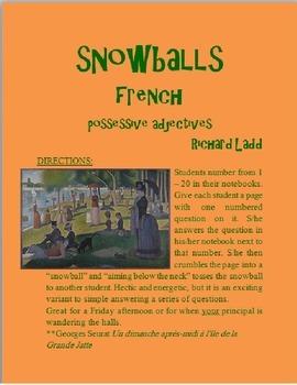 Possessive Adjectives Snowballs FRENCH