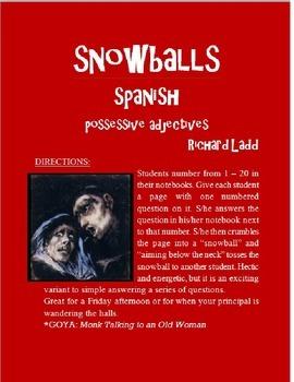 Possessive Adjectives Snowballs SPANISH