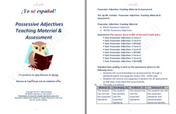 Possessive Adjectives Teaching Material & Assessment