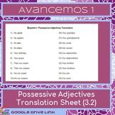 Possessive Adjectives Translation: Spanish-Avancemos 1 3.2