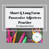 Possessive Adjectives Worksheet Long & Short Form Pos. Adj.