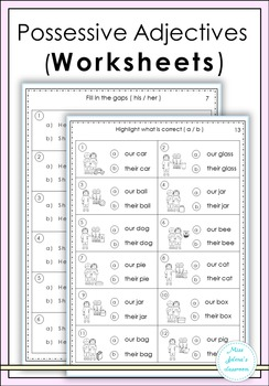 Possessive Adjectives Worksheets By Miss Jelena S Classroom Tpt
