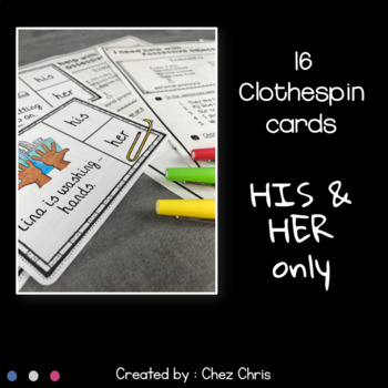 Worksheets and Clothespin Clip Cards - Possessive Adjectives