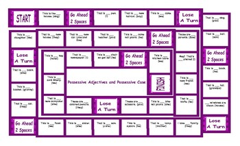 Possessive Adjectives and Possessive Case Legal Size Text Board Game