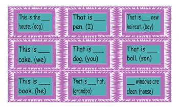 Possessive Adjectives and Possessive Case Legal Size Text Card Game