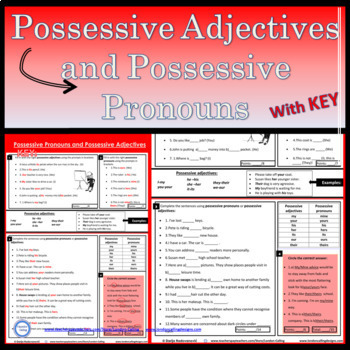 Possessive Adjectives and Possessive Pronouns - with EDITABLE Word Document
