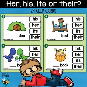 Possessive Adjectives (her, his, its, their) Clip Cards