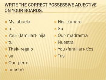 Possessive Adjectives white boards