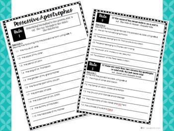 Possessive Apostrophe Worksheets, Posters and Memorandum