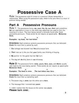Possessive Case - Nouns and Pronouns