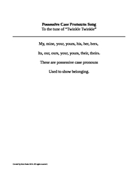 Possessive Case Pronouns Song