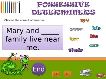 Possessive Determiners with voice in Power Point