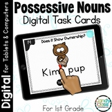 Possessive Noun Activities: First Grade Digital Task Cards for Grammar Practice