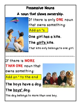 Possessive Noun Anchor Chart