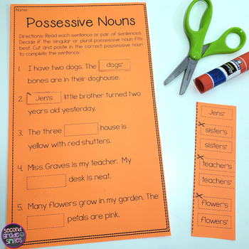Motion Worksheets For Kindergarten Possessive Nouns Cut And Pastes By Second Grade Smiles  Tpt Music Worksheets Middle School with Mixed And Improper Fractions Worksheet Possessive Nouns Cut And Pastes Plant Growth Worksheet Excel