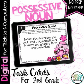 Possessive Noun Digital Task Cards - Paperless for Google Classroom Use
