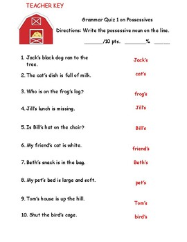 Possessive Noun Quizzes