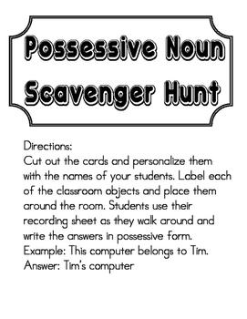 Possessive Noun Scavenger Hunt