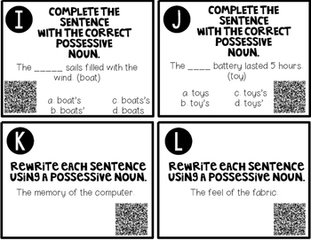 Possessive Noun Task Cards