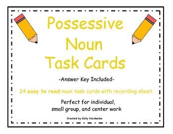Possessive Noun Task Cards (Easy to Read)