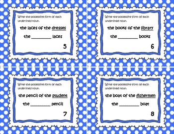 Possessive Noun Task Cards (Polka Dot Edition): Common Core Aligned