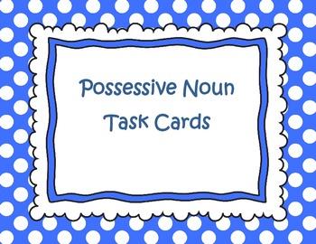 Possessive Noun Task Cards (Polka Dot Edition): Common Cor