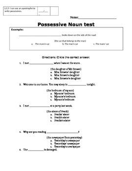 Possessive Noun Test