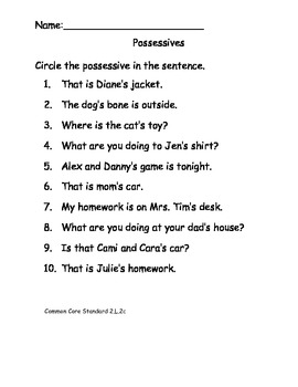 Possessive Noun Worksheet Teaching Resources | Teachers Pay Teachers