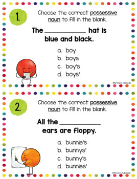 Possessive Nouns Task Cards and Anchor Charts