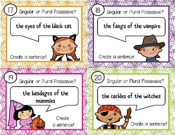 Possessive Nouns Task Cards Halloween theme