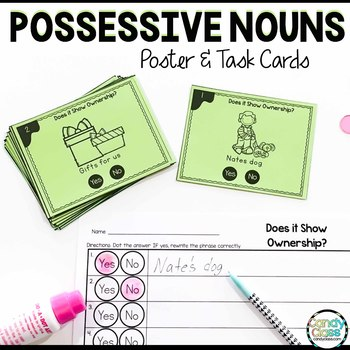 Possessive Nouns Activities with Poster and Task Cards