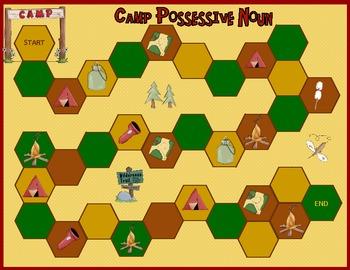 Possessive Nouns:  Camp Possessive Noun Game and Worksheet