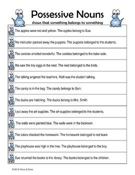 Possessive Nouns, Make the Noun Possessive and Identify What it Possesses
