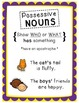 Possessive Nouns PACK- Clip It! Literacy Center and 3 Posters